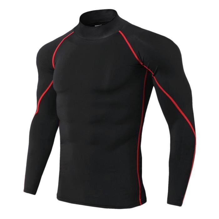 Maillot Compression À Manches Longues Pour Homme Tee Shirt De Sport Séchage Rapide Baselayer Haut Rouge 3XL