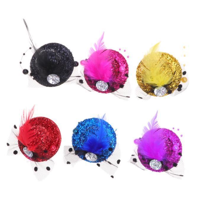 6 pièces accessoires de cheveux chapeau pinces à plume petits chapeaux bibi CHAPEAU - PERRUQUE - COUVRE CHEF - ACCESSOIRE DE TETE
