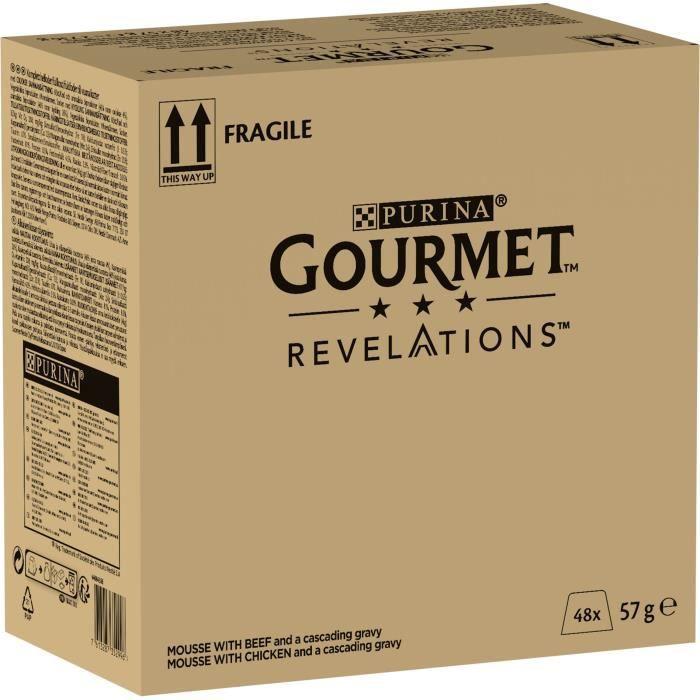 PURINA GOURMET™ REVELATIONS™ Mousseline au Poulet et boeuf nappée de sauce - 4 x 57 g