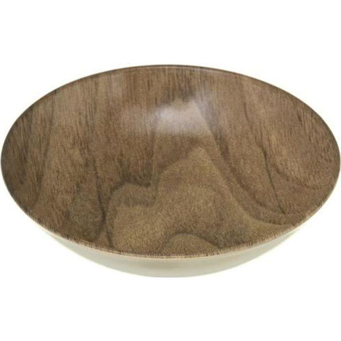 Assiette creuse design bois Mood - Diam. 20 cm - Marron