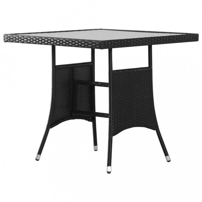 P120 Table de jardin Noir 80x80x74 cm Resine tressee
