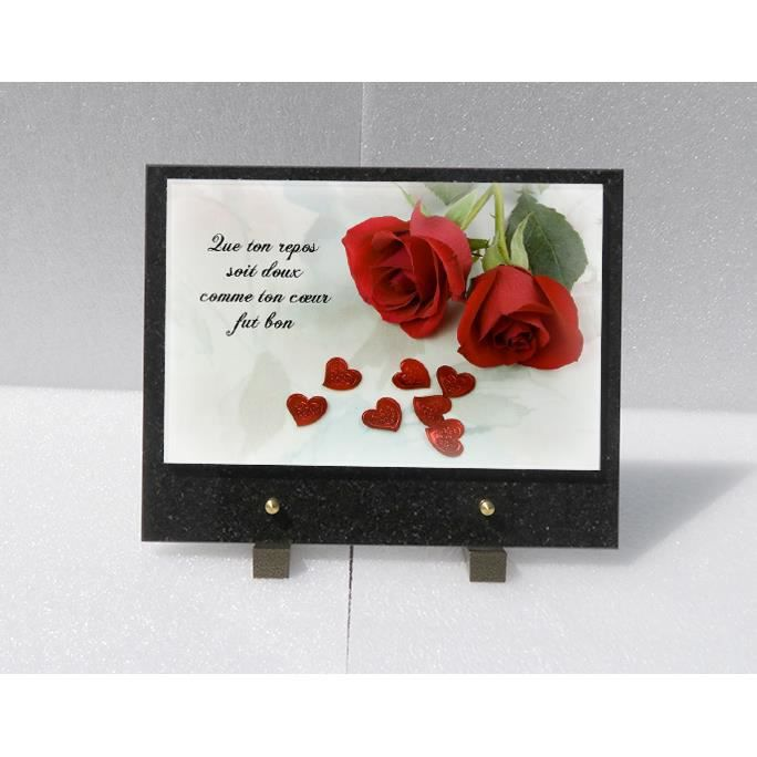 plaque fun raire rose rouge en verre feuilet achat vente plaque fun raire plaque fun raire. Black Bedroom Furniture Sets. Home Design Ideas