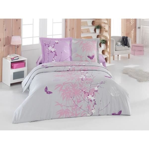 parure flore lilas fil b drap plat 240x300 cm drap housse 140x190 cm 2 taies d oreiller taie. Black Bedroom Furniture Sets. Home Design Ideas
