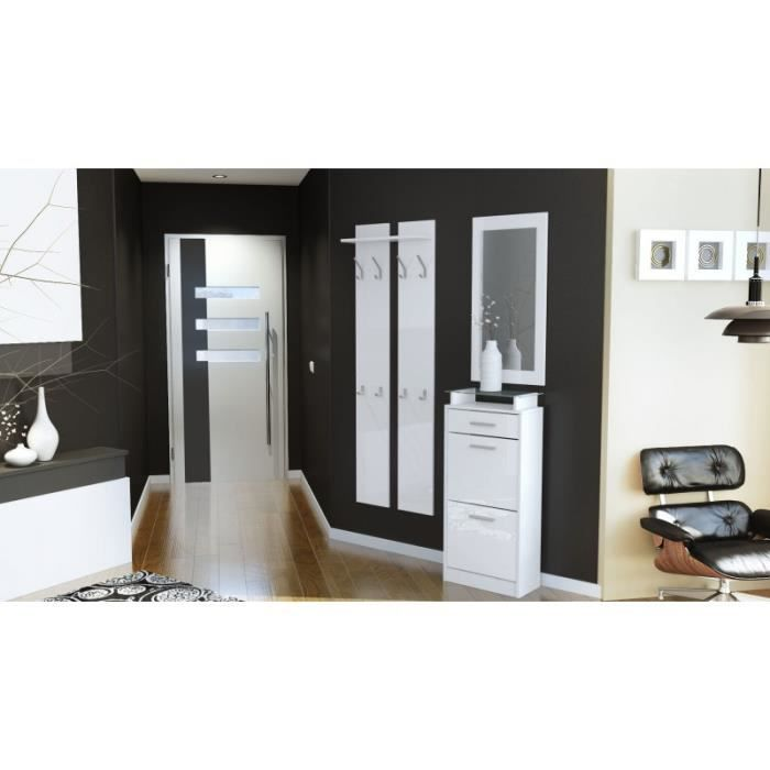 Ensemble de hall d 39 entr e laqu design blanc achat vente meuble d 39 entr e ensemble de hall d - Meuble hall d entree ...