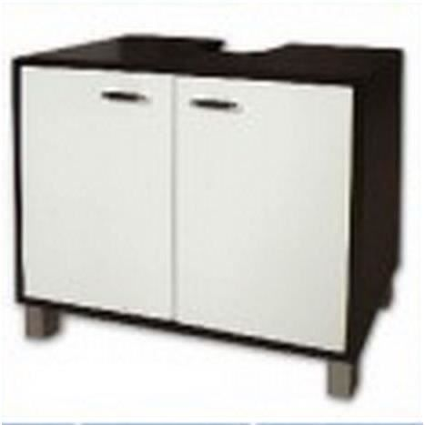 meuble sous vasque 2 portes noir blanc achat vente. Black Bedroom Furniture Sets. Home Design Ideas