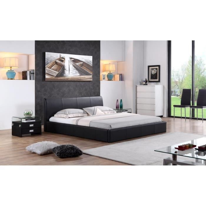 sublime structure de lit monaco 160x200 cm design contemporain noire achat vente structure. Black Bedroom Furniture Sets. Home Design Ideas