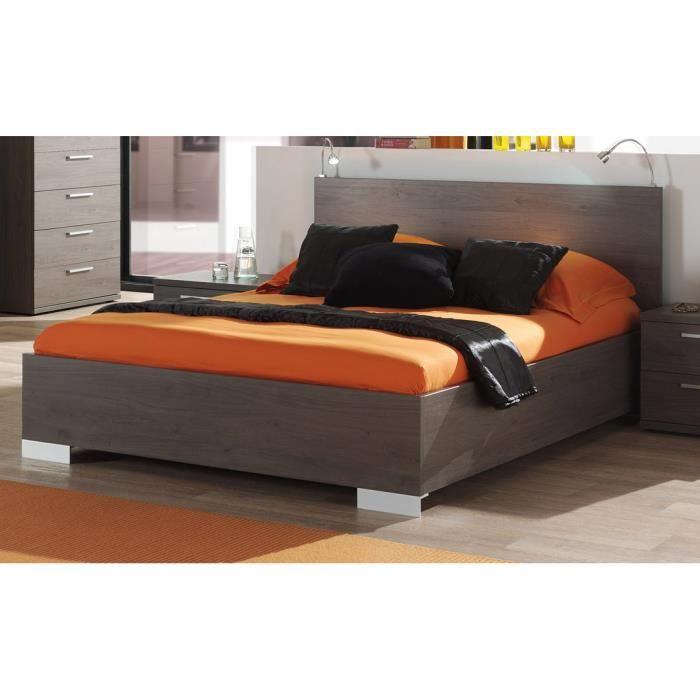 STRUCTURE DE LIT Lit 160x200 cm avec tête de lit intégrée coloris c