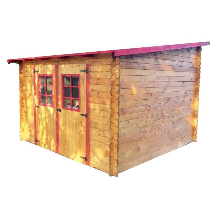 Abri de jardin en bois madriers massif 9,94m² toit mono pente  multidirectionnel
