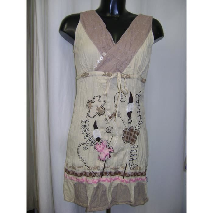 ROBE SAVAGE CULTURE BEIGE BRODEE TAILLE M = 38/40