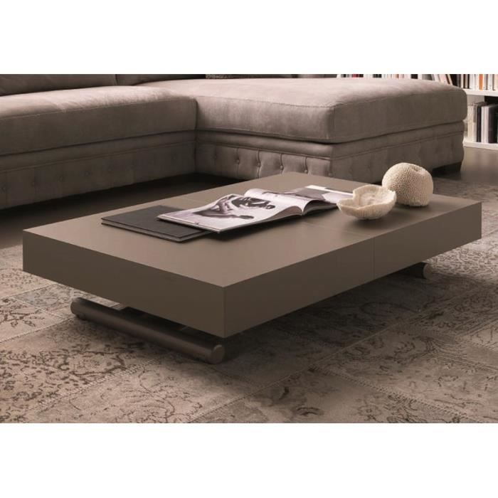 Liovita table basse relevable et extensible taupe achat vente table bas - Fabrication table basse ...