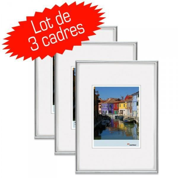 lot de 3 cadres photo galeria 15x20 cm silver achat. Black Bedroom Furniture Sets. Home Design Ideas