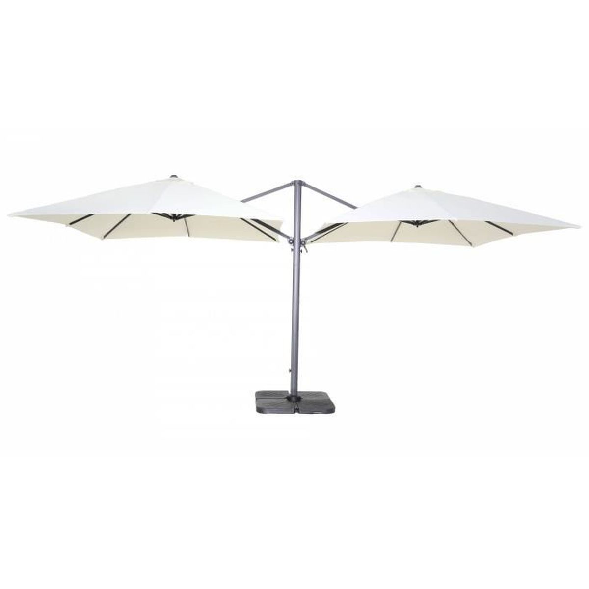 double parasol d port carr en aluminium beige achat vente parasol double parasol d port. Black Bedroom Furniture Sets. Home Design Ideas