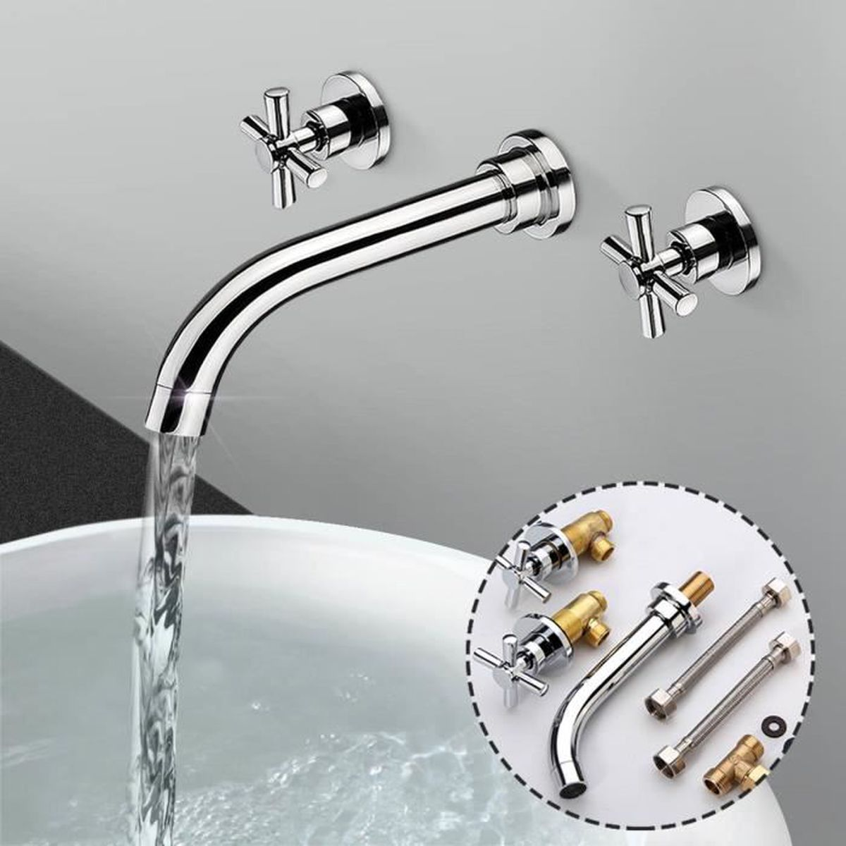 3 trous mural robinet mitigeur lavabo laiton mixer tap. Black Bedroom Furniture Sets. Home Design Ideas