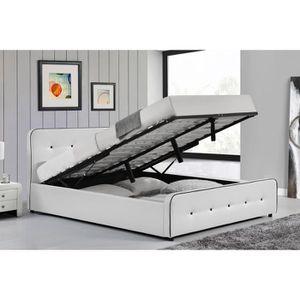 LIT COMPLET Le Balder - Structure de lit capitonnée Blanc avec