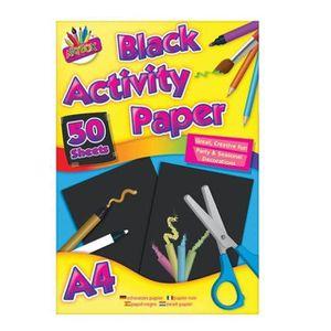 PAPIER A DESSIN Papier de couleur noir A4 50 feuilles Pad