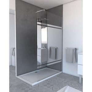 PORTE DE DOUCHE Pack paroi de douche miroir 140cm profile chrome -