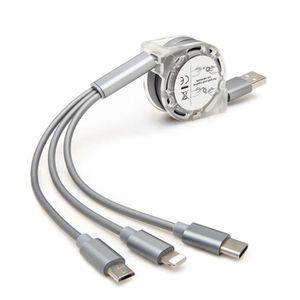 CÂBLE TÉLÉPHONE 3 en 1 Retractable Cable USB Type C Câble de Charg