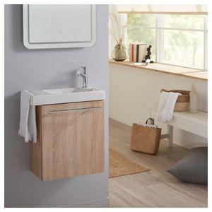 LAVE-MAIN Meuble Lave mains couleur chêne pour toilette avec