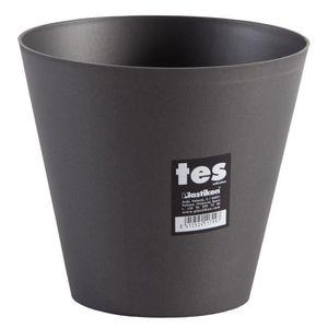JARDINIÈRE - BAC A FLEUR PLASTIKEN Pot de fleurs cône Tes - 18 cm - Anthrac