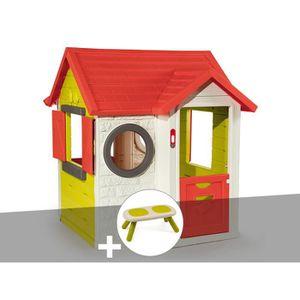 MAISONNETTE EXTÉRIEURE Cabane enfant My House - Smoby + Banc 115 x 120 x