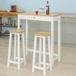 MANGE-DEBOUT SoBuy® FWT50-WN Set DE 1 Table + 2 Tabourets Table