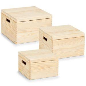 BOITE DE RANGEMENT boîte de rangement Zeller mis Cube, 3 pièces, pin