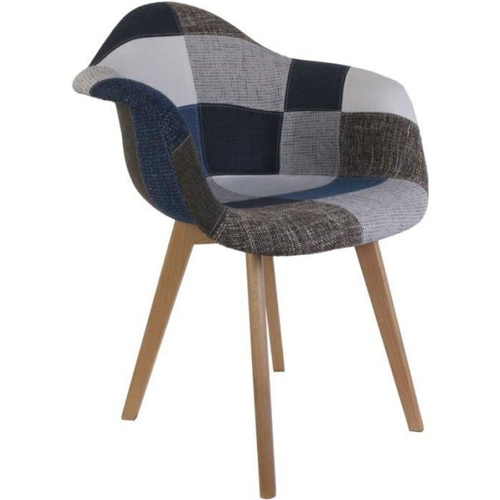 Fauteuil Patchwork - Bleu et gris