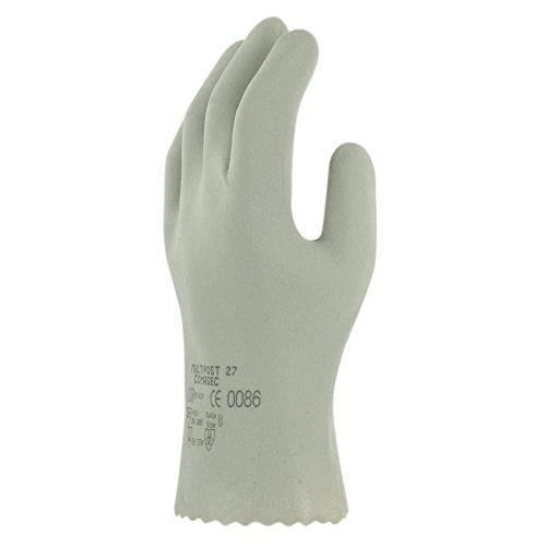 Ansell Multipost 27 Gants en PVC, protection mécanique, Gris, Taille 11 (Sachet de 12 paires)