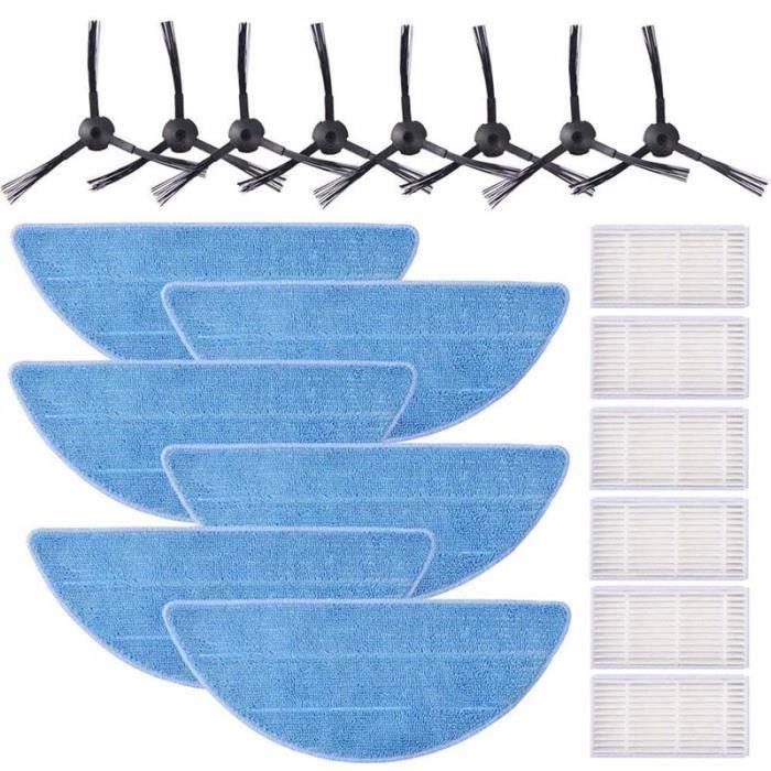 Kit de Filtre HEPA Pour ILIFE V5s V5 V3s V3 Pro, Brosses Latérales et Lingette(6 filtre, 6 Lingettes et 8 brosses latérales)