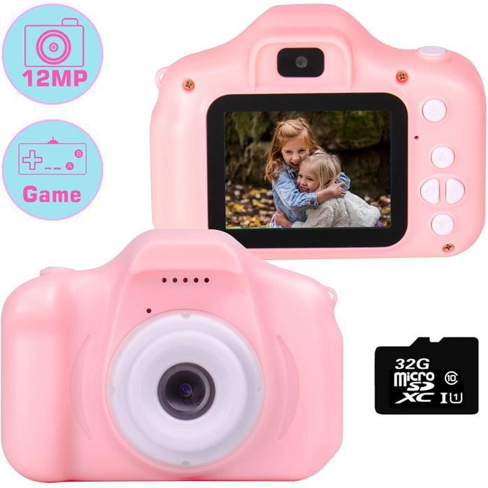 Kids Camera 1080P 12 MP Dual Selfie Photo / Vidéo HD Appareils Photo numériques, 2.0 -IPS Screen Antichoc Enfant Appareil Photo numé