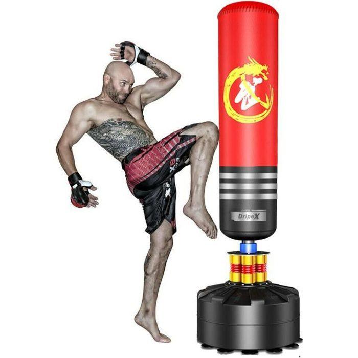 Sac de Frappe Adulte Debout Sac de Boxe Sac de Frappe Sur Pied - Rouge - 1,75m Idéal Pour Boxe, Kick Boxing
