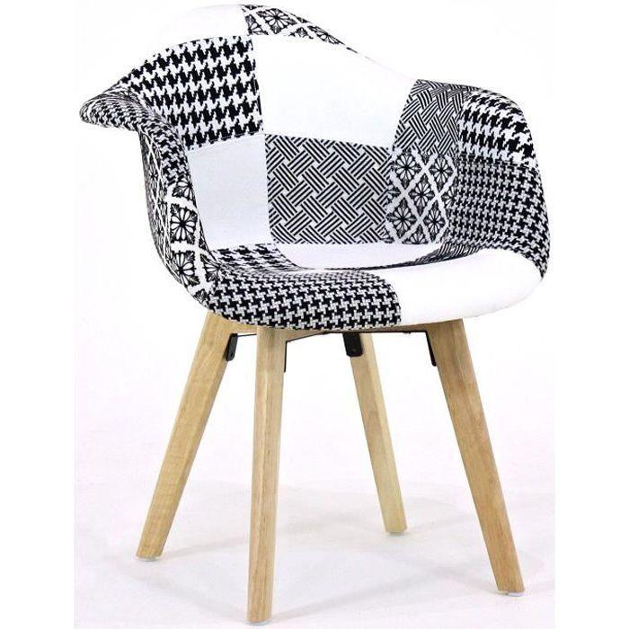 Fabia Chaise en patchwork noir et blanc Retro