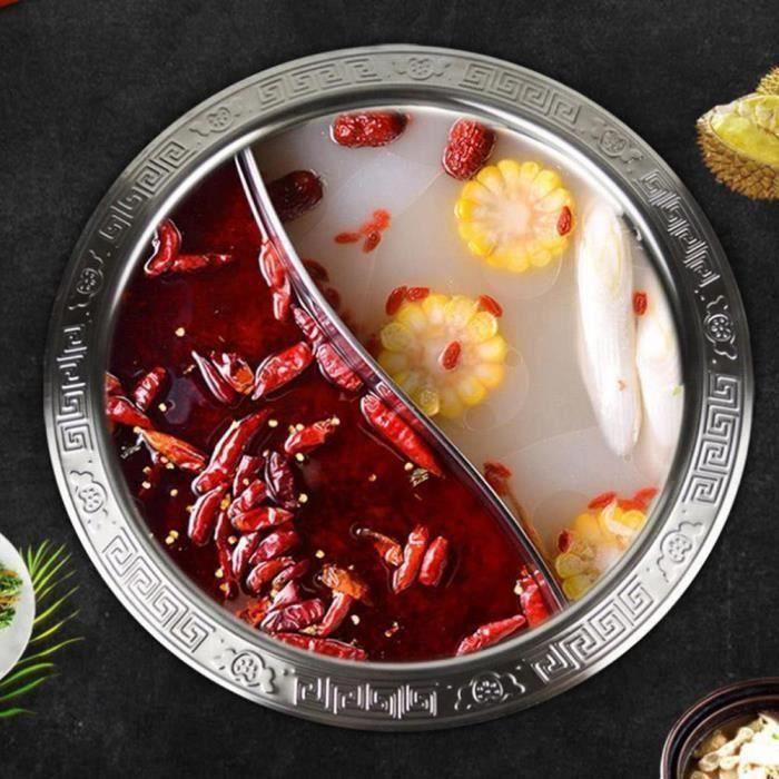 Fondue divisée très épaisse fondue chinoise de marmite à induction en acier inoxydable