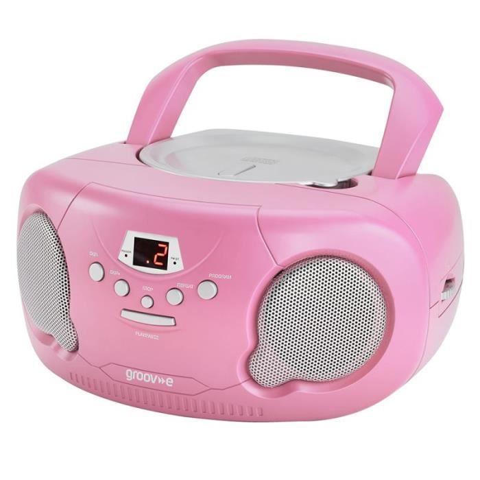 Groov-e GVPS733PK Lecteur CD Portable Avec Radio Boombox Aux-in Original - Rose