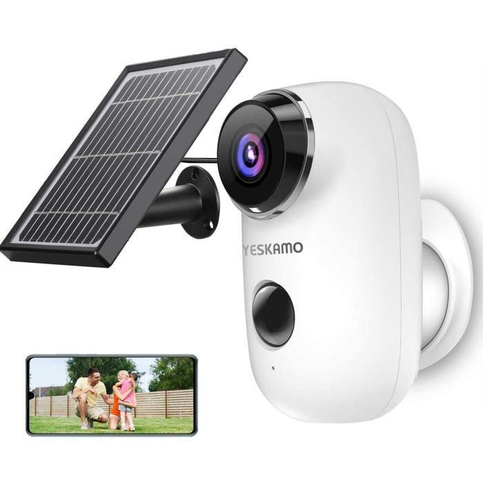 YESKAMO Caméra de Surveillance sur Batteries Extérieure/Interieur sans Fil HD 1080P Caméra IP WiFi avec Panneau Solaire Détection de