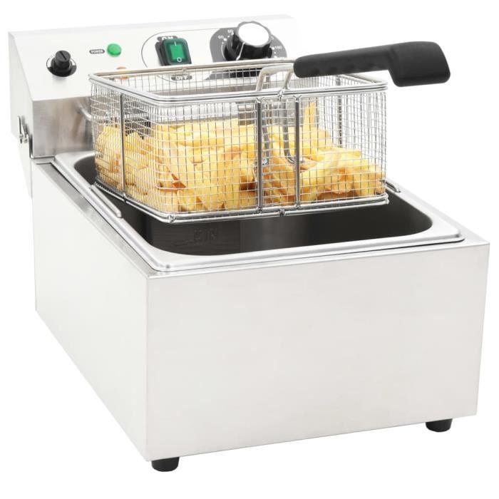 Friteuse électrique Professionnelle 3000 W - 10 L - Avec Zone Froide - Cuisine&Restaurant - En Inox Blanc