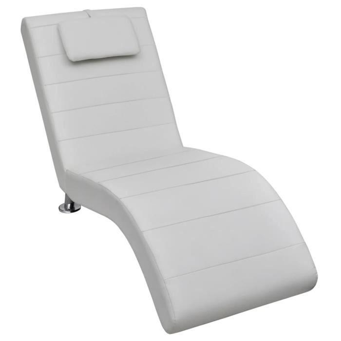 Qualité luxe© - Chaise longue avec oreiller & Chaise de relaxation Transat & Blanc Similicuir -576267