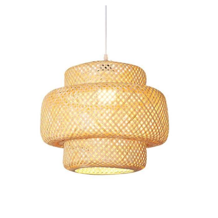 Suspension Bambou Créativité Style Japonais Salle A Manger Salon Chambre Hôtel Lustre Luminaire Grand Diametre 38*40cm