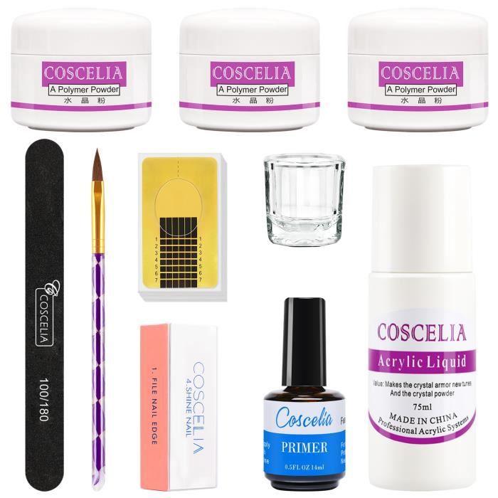 Coscelia Kit Poudre Acrylique Liquide Powder Ongle Manucure Primer Lime Pinceau Verre Nail Outils