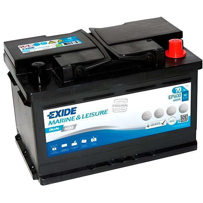 Batterie plomb AGM EXIDE Dual AGM EP600 (600Wh) 12V 70Ah 760A-Exide