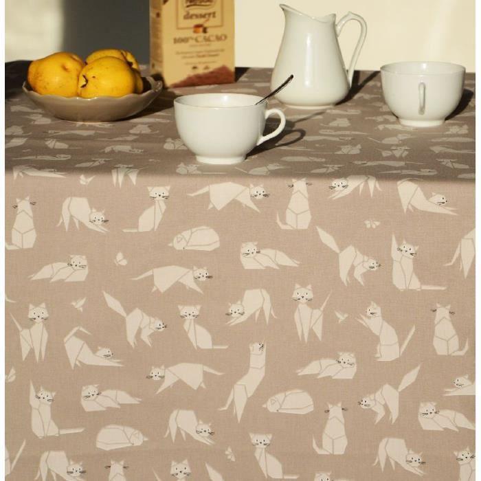 Nappe Chats taupe coton enduit 160x300 - Fleur de Soleil