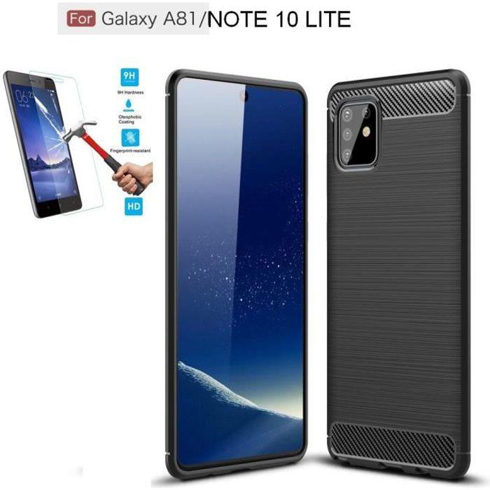 Coque Samsung Galaxy Note 10 Lite / A81 Carbone Noir + Film Verre Trempé Housse Etui En Silicone Gel Souple hfs-house®