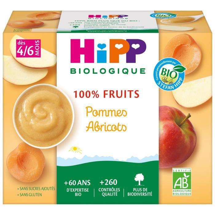 HIPP BIOLOGIQUE 100% fruits Compote Pommes Abricots - 4x100 g - Dès 4/6 mois