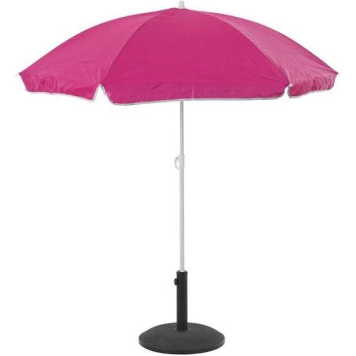 Parasol de plage anti-UV - L 140 cm x H 175 cm - Rose