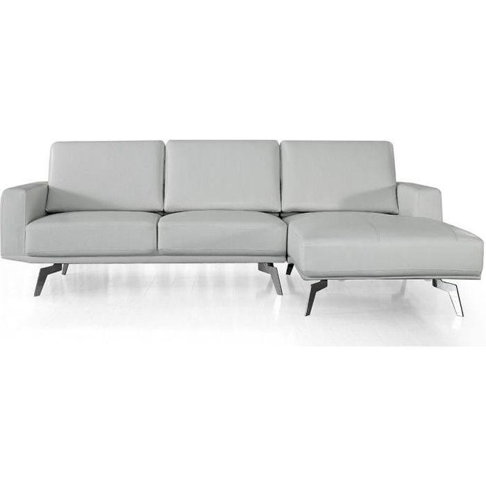 Canapé d'angle en cuir ARYA - Droit - Gris perle