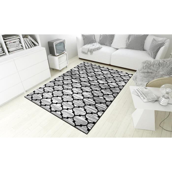 Tapis Black & White Trèfle, Gris, Antidérapant et Lavable en machine, 80x150 cm