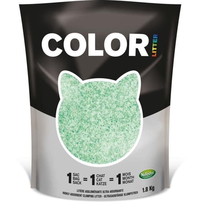 NULLODOR Litière Color par DEMAVIC - 1,8 kg - Vert - Pour Chat