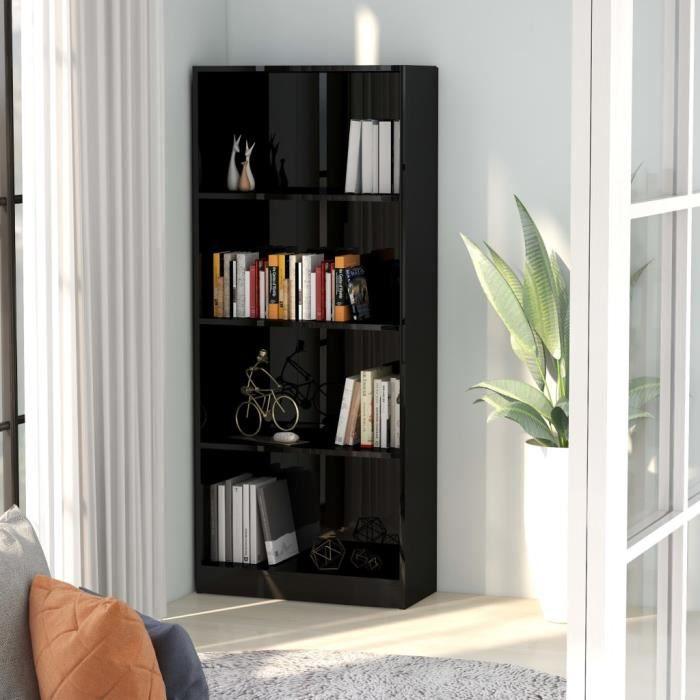 Bibliothèque à 4 niveaux Noir brillant 60x24x142 cm Aggloméré