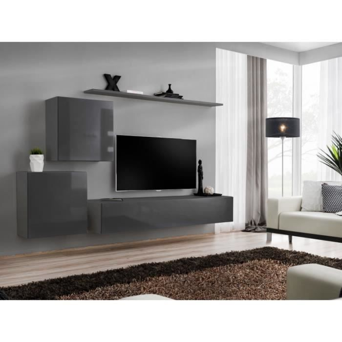 Meuble TV mural SWITCH V design, coloris gris brillant. 40 Gris