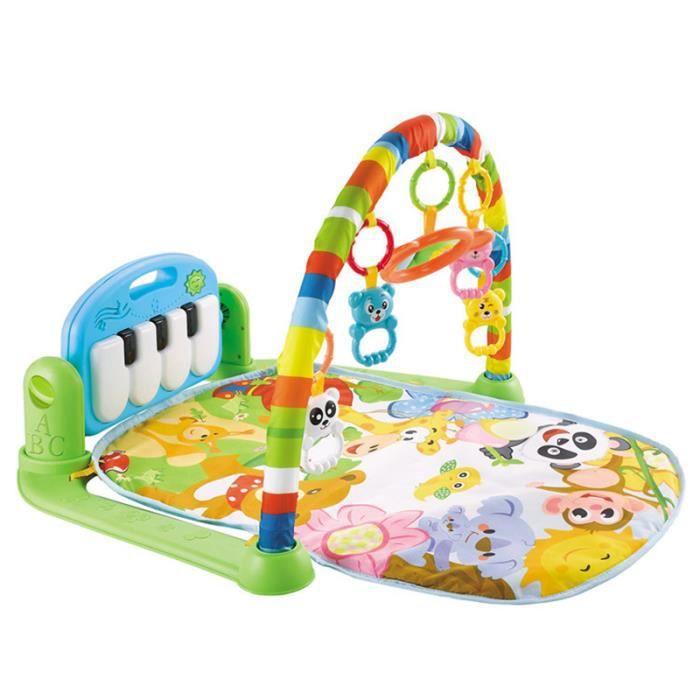 Activité de jouet de tapis de jeu pour bébé, style jungle, avec piano pour bébé de 0 à 12 mois, sûr, amusant